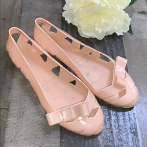STEVE MADDEN Bow Flats Nude Jelly Shoes size 8